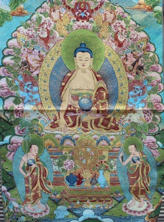 Large Tibet Cloth Silk Embroidery Buddha Thangka