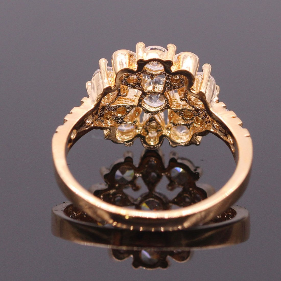 White Zircon Crystal Ring 18K Gold Plated Ring 7 - 2