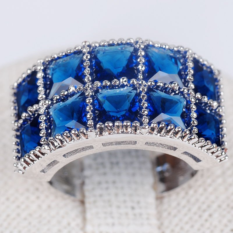 CZ Sapphire 925 Silver ring Size :7