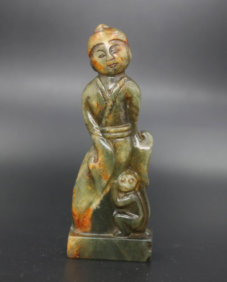 Antique Chinese Hand Carved Women and Monkey Sculpture