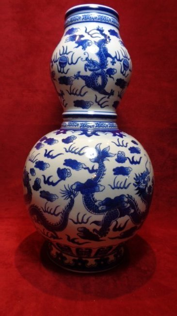 Chinese Ceramic Blue & White Double Gourd Shape Vase. M