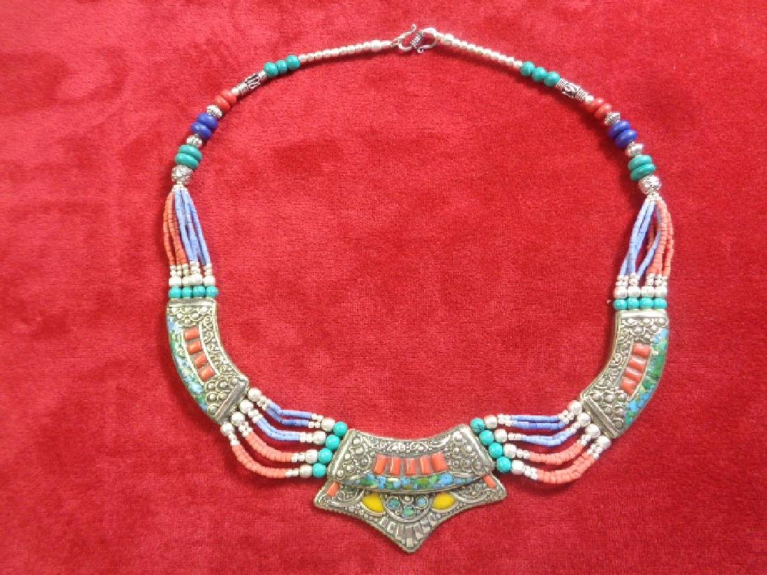 Turquoise-Coral-Lapis 925 Silver Necklace