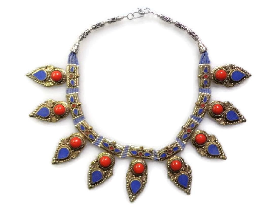 925 Silver - Coral & Lapis Necklace