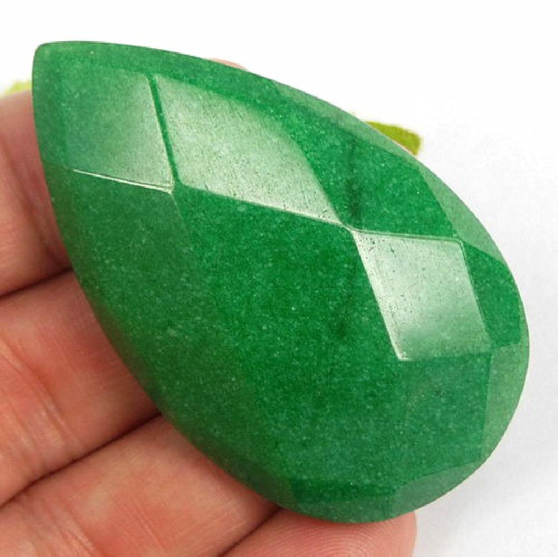 Large Faceted Green Jade cabochon- 55 mm