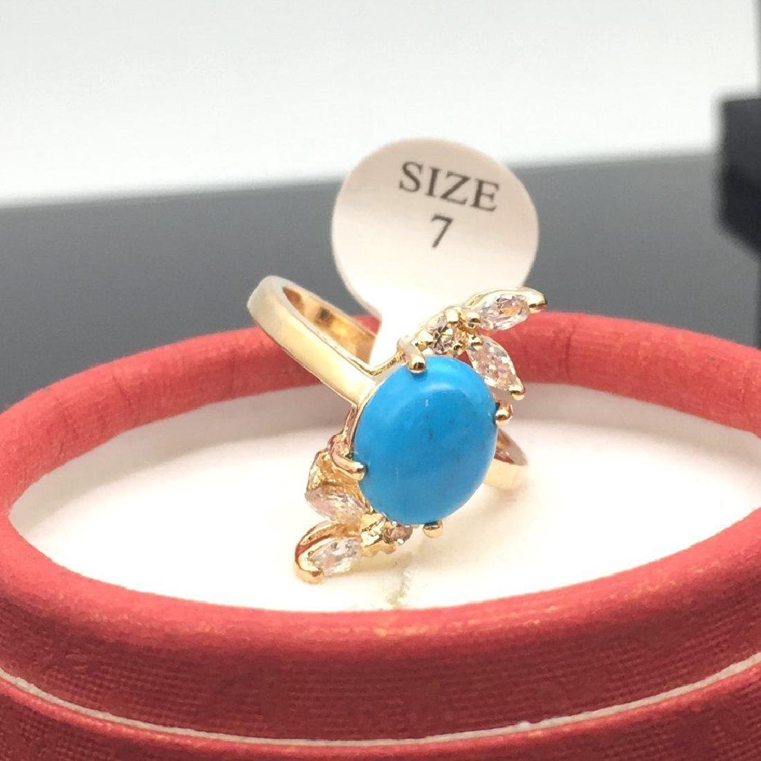 Turquoise Women Ring 18k Yellow Gold Plated Size 7