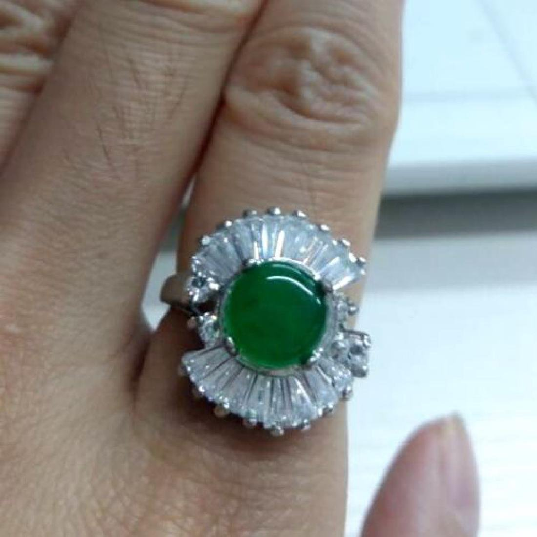 Round Jade Zircon 18k White Gold Filled Rhinestones