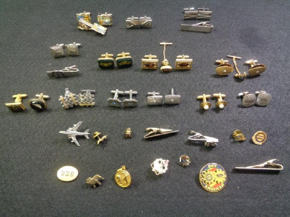Lot of 45 Vintage Cuff Links, Tie and Clasp
