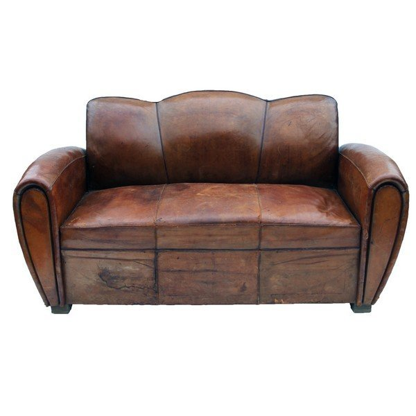Art Deco Leather Club Pull Out Sleeper Sofa