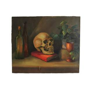 Still life with Skull - Oil on Canvas