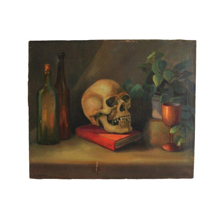 Still life with Skull - Oil on Canvas