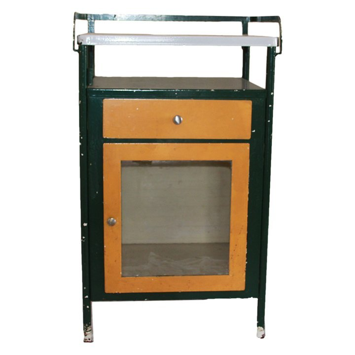 Metal Doctors Apothecary Cabinet with Glass Front and