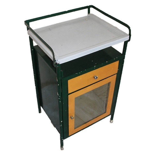Metal Doctors Apothecary Cabinet with Glass Front and - 2