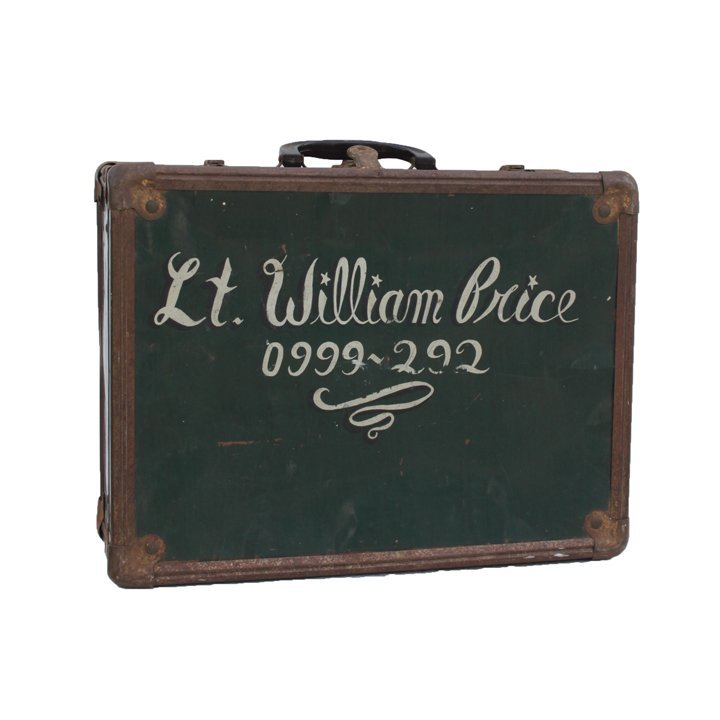 Green Metal Suitcase. Inscribed €Lt. Williams