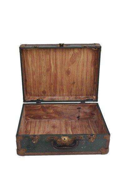 Green Metal Suitcase. Inscribed €Lt. Williams - 2
