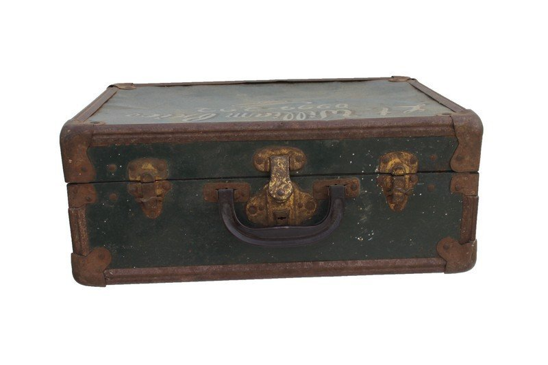 Green Metal Suitcase. Inscribed €Lt. Williams - 3