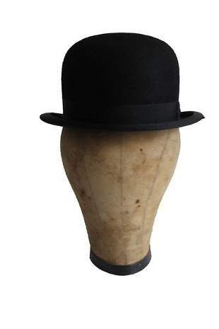 Black Felt Bowler Made by Hertz 5th Ave. NY
