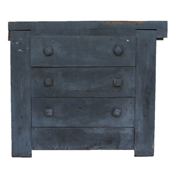 Primitive Industrial Gray Work Bench  With Drawers