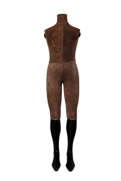 Elegant Suede and Wood Boy Size Display Mannequin