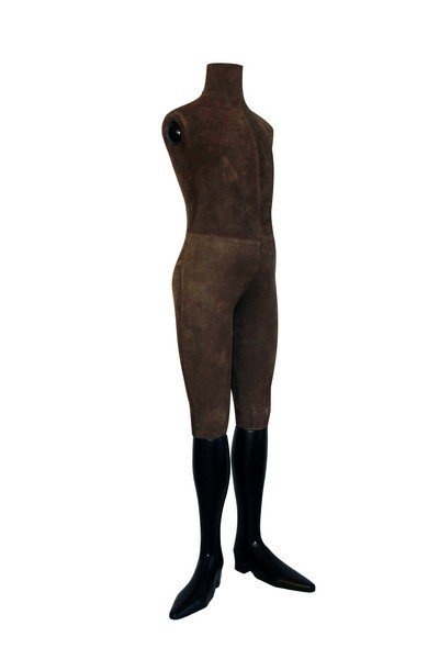 Elegant Suede and Wood Boy Size Display Mannequin - 7
