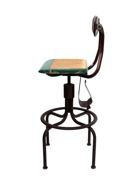 Industrial Cane Drafting Stool with Supply Holder
