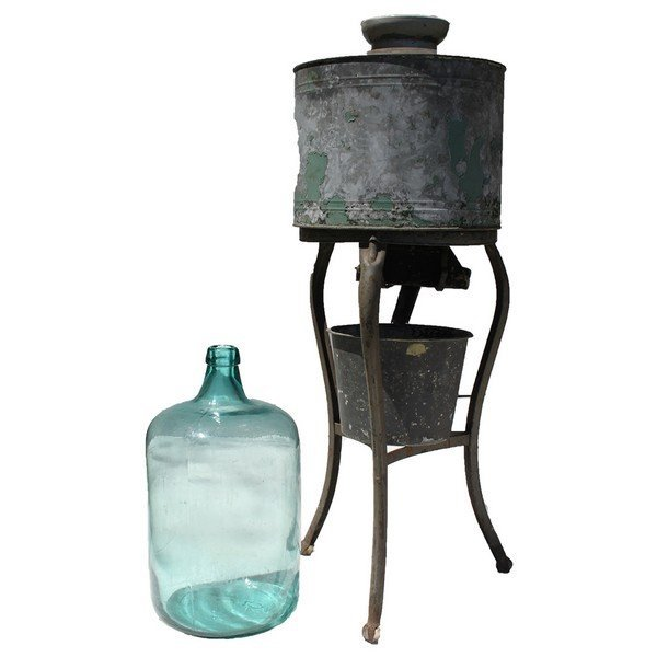 Antique Watercooler with Rare Blue Glass Jug. - 3