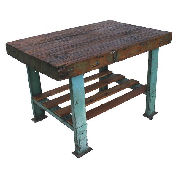 Industrial Work Bench Butcher Block with Turquoise