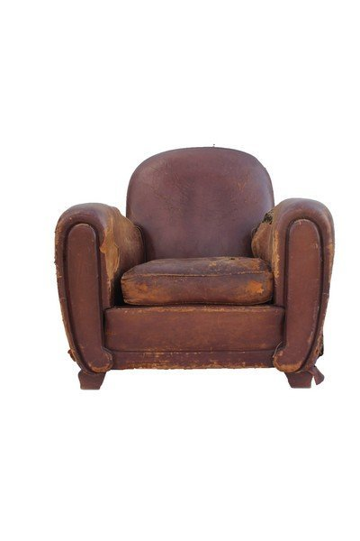 Pair of  French Art Deco leather club chairs - 2