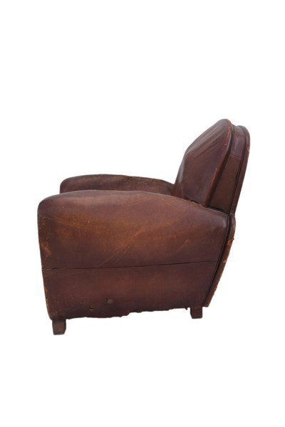 Pair of  French Art Deco leather club chairs - 3