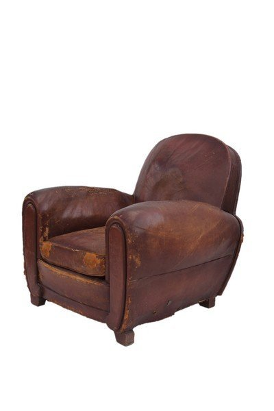 Pair of  French Art Deco leather club chairs - 4