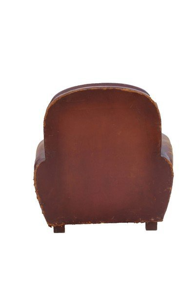 Pair of  French Art Deco leather club chairs - 6