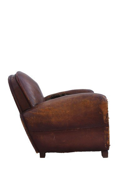 Pair of  French Art Deco leather club chairs - 8