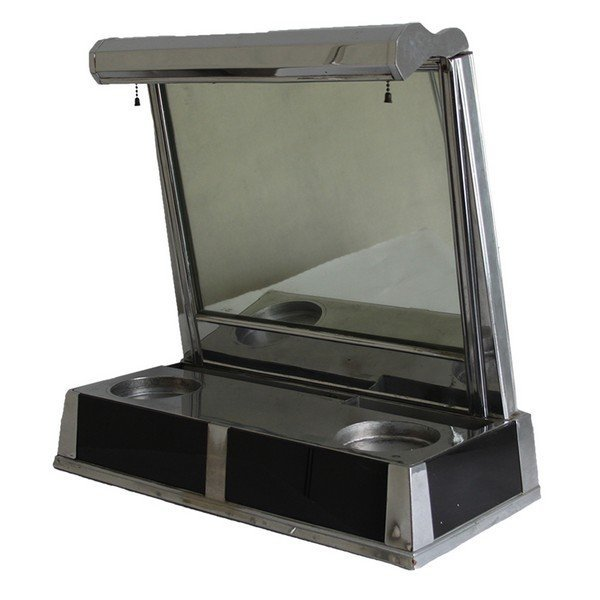 Silver Art Deco Barber Shop Mirror Station