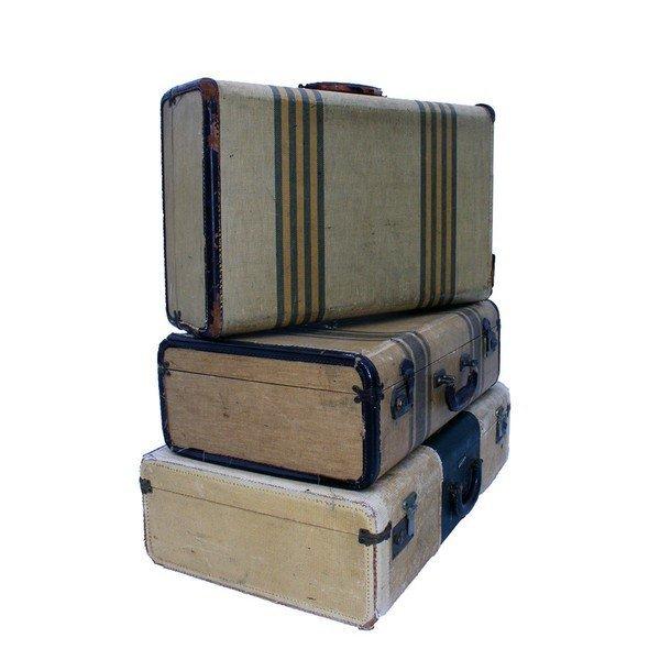 Tan Tweed like Suitcases Lot of 3