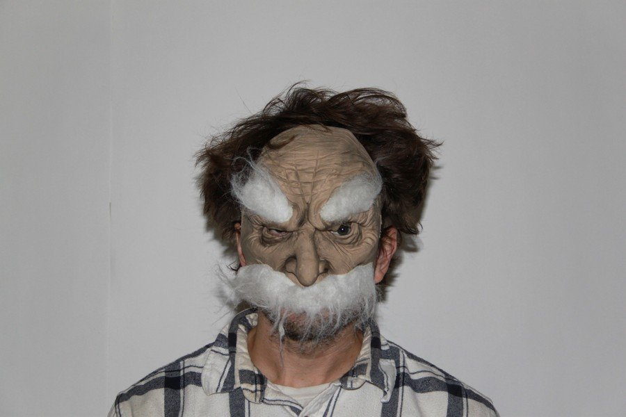 Colby Keller's Costume Pajama and Creepy Old Man Mask - 2
