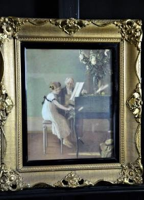 Gouache first piano lessons according to J.A. Munier,