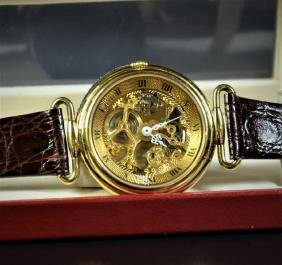 Skeleton wristwatch, gilded. In very good condition.