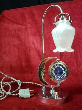 Really rare Art Déco chromed lamp with pocket watch.