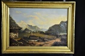 Oil on canvas Mountain landscape with ruines . 62 x