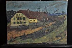 Painting on Pavatex House, signed Antonio Erba. 47 x