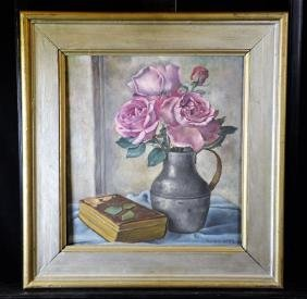 Oil on canvas Roses in vase, signed Guido Lucca, 1936.