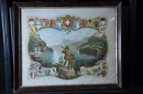 Lithography Wilhelm Tell. 34 x 42cm.
