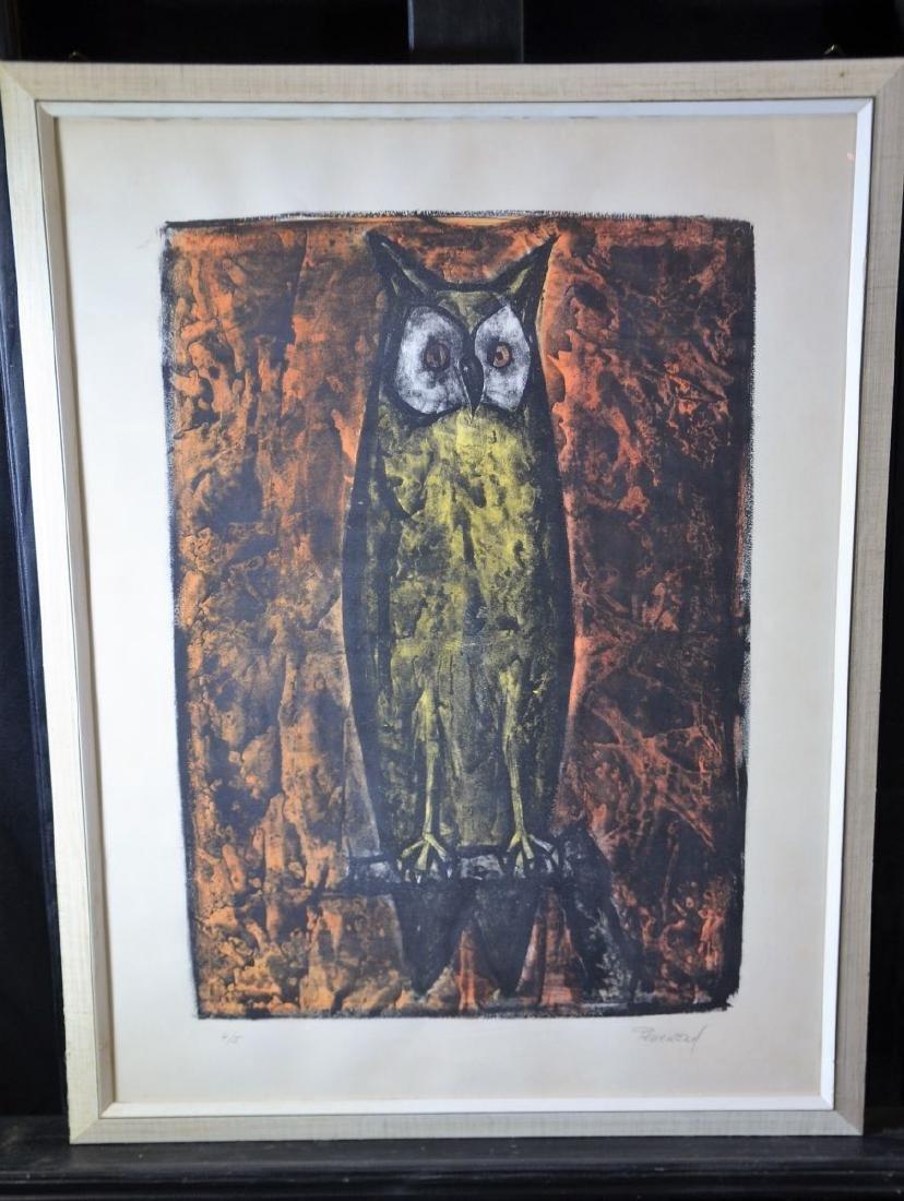 Color woodcut 45 Owl, signed Perrenoud. 66 x 49cm.