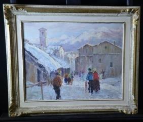 Oil on canvas Village Lavigno, Tessin, signed A. Busa.