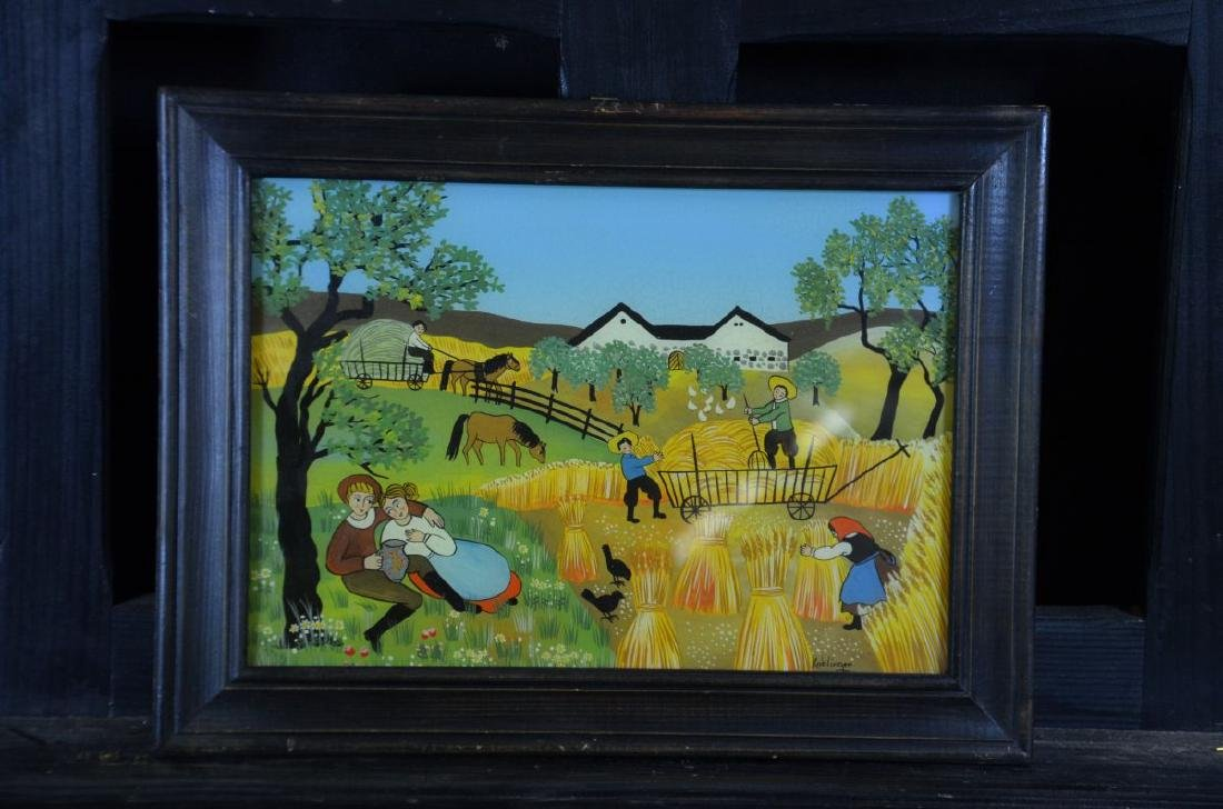 Reverse glass painting During harvest, signed