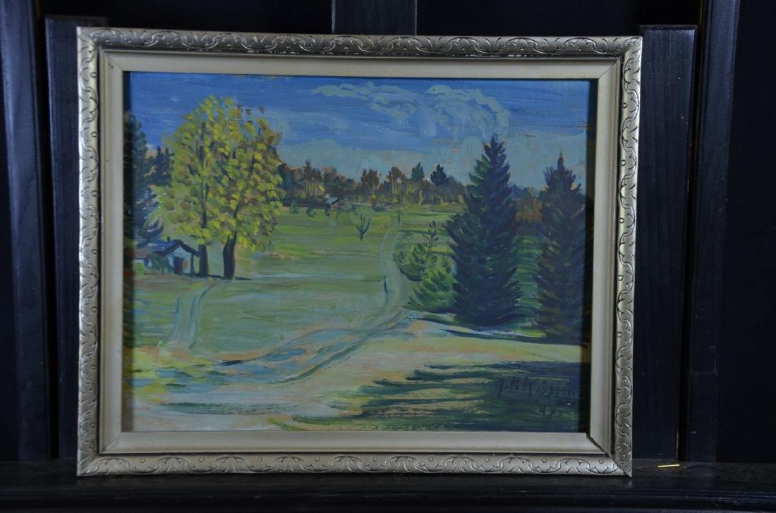 Oil on cardboard Summer Landscape, signed A.P.