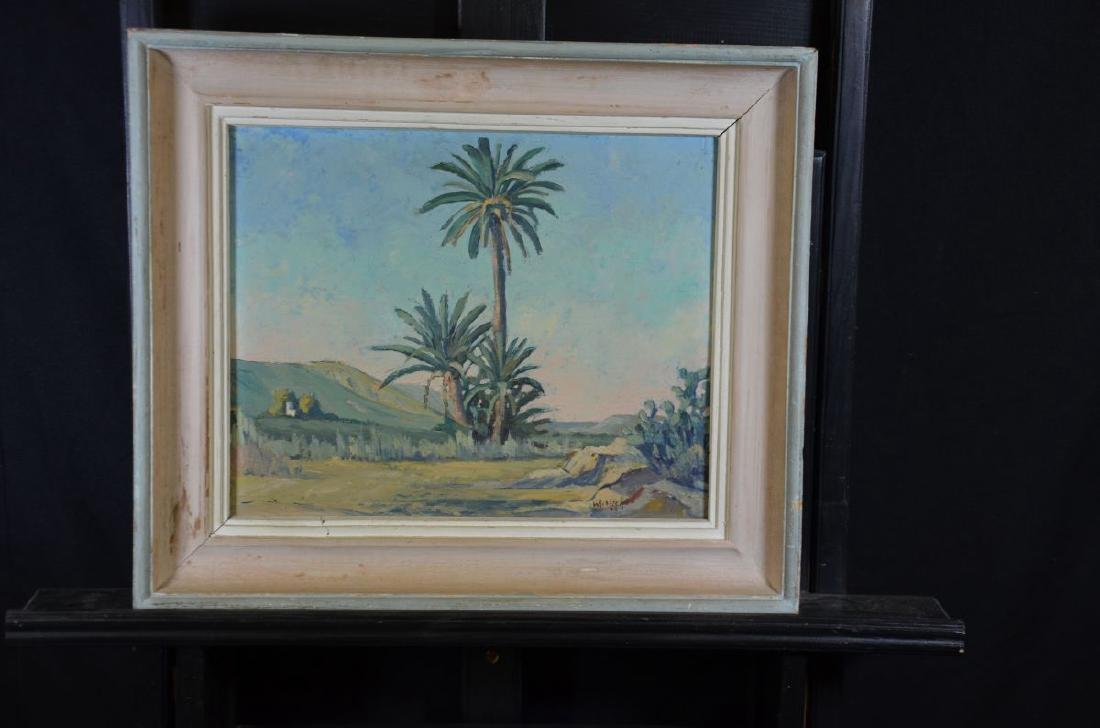 Oil on artists board Palms and cactuses, signed