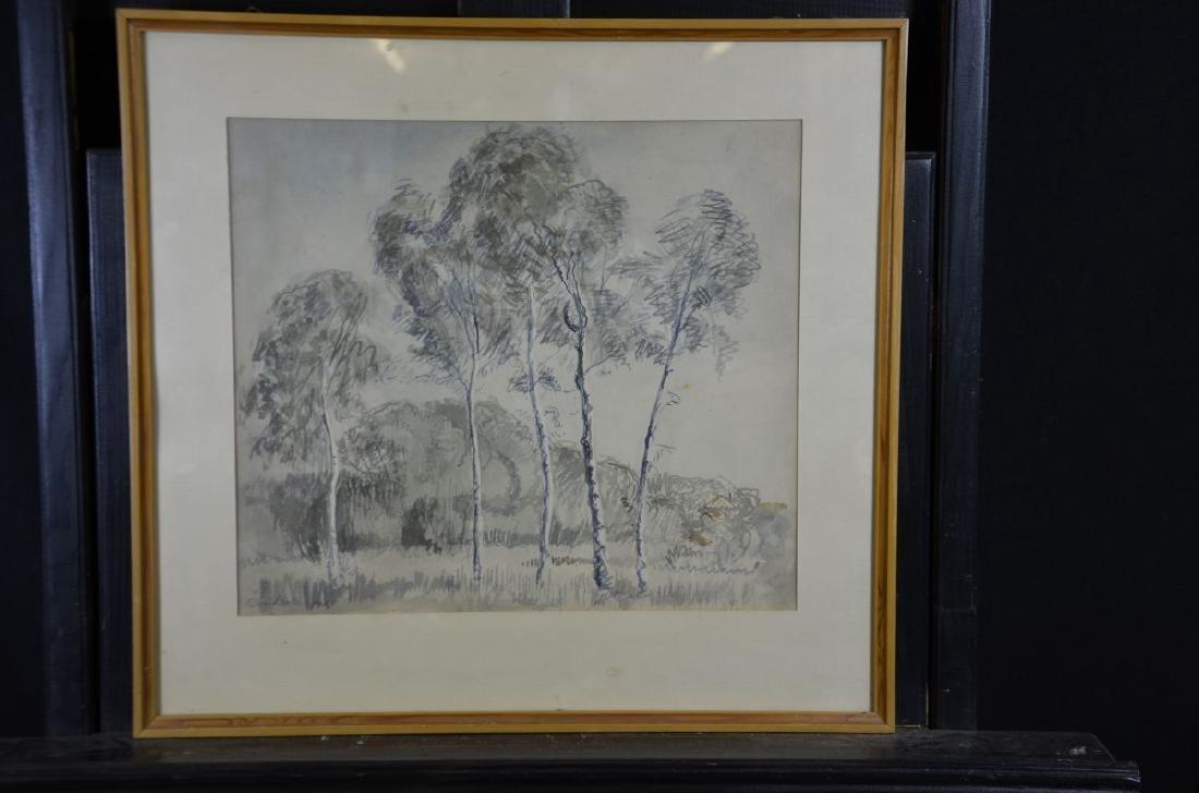 Aquarelle Birkenhain, signed Cesar Bollet, 1999, framed