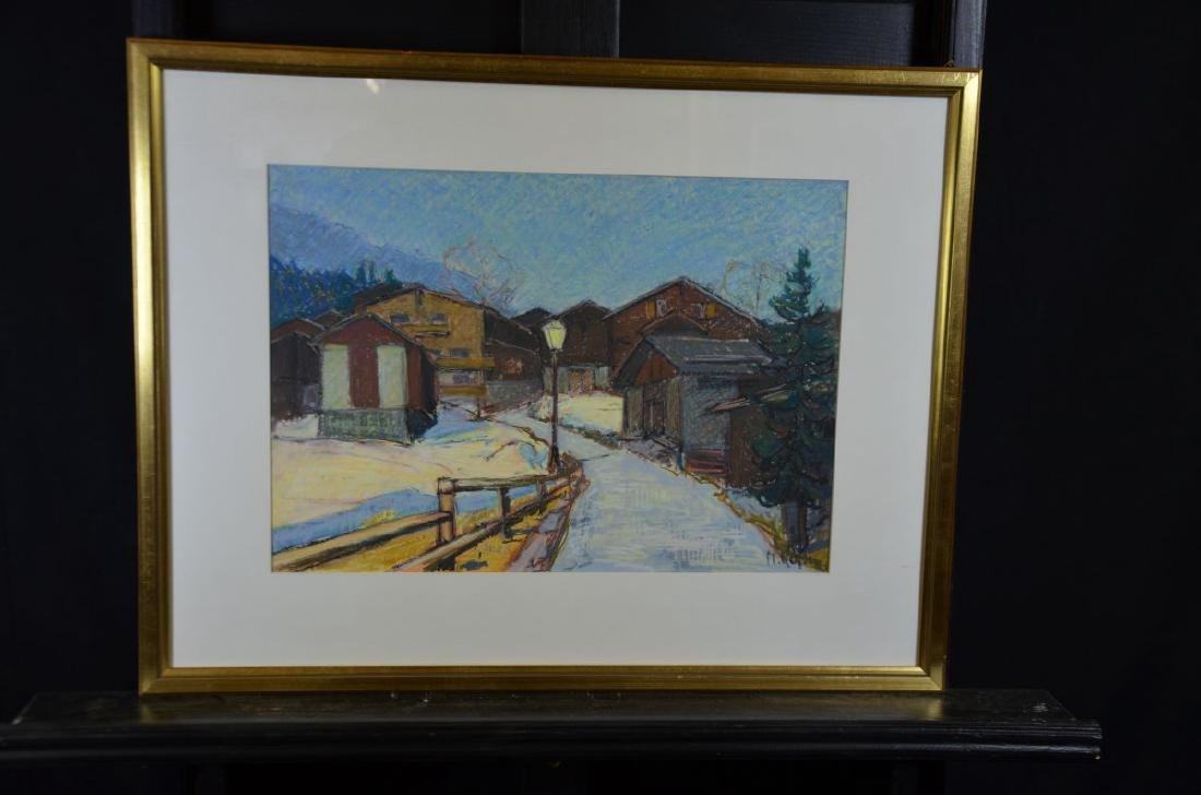 Mixing technique on paper Winterly mountain village,
