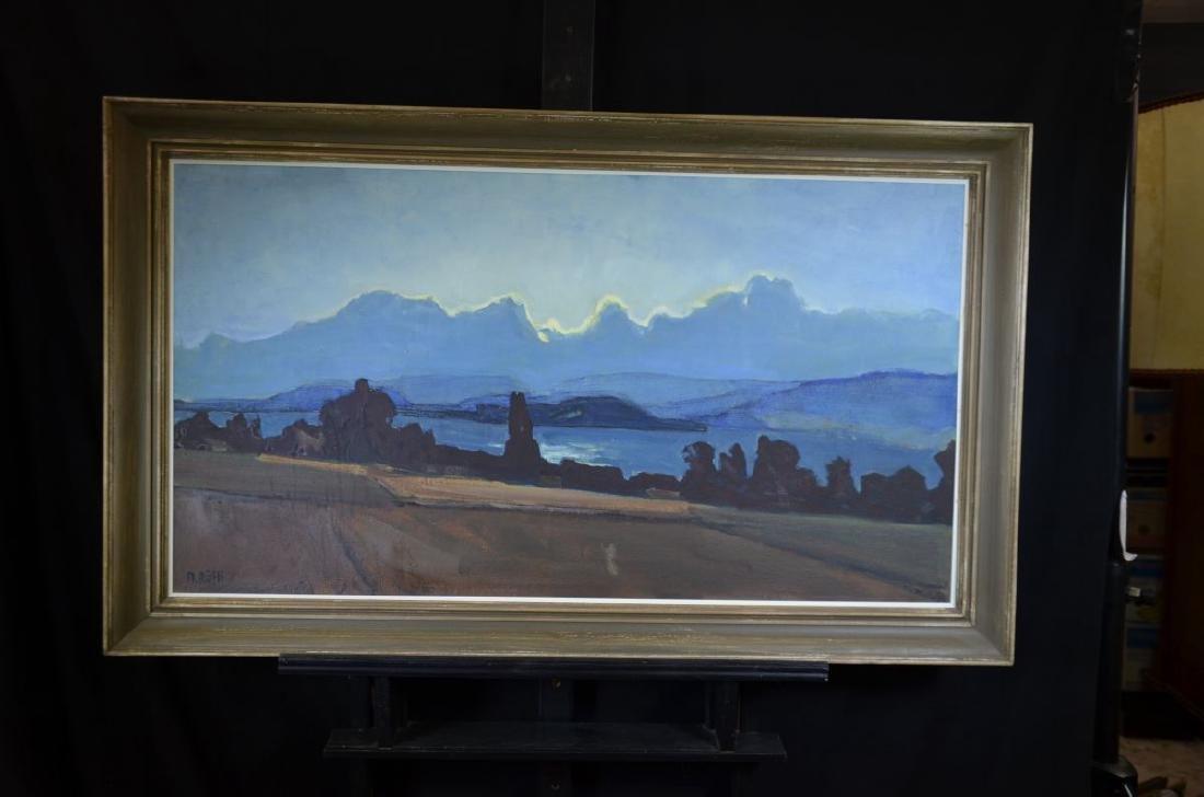 Oil on canvas Lake landscape, signed M. Rüfli. 60 x