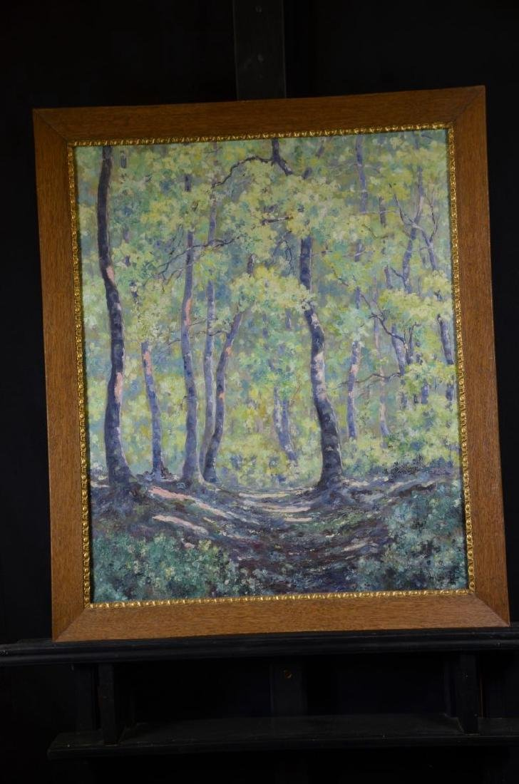 Oil on canvas Under the trees, signed R. Vuillemier,